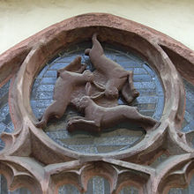 Three hares in Paderborn Cathedral. Symbol of the Trinity, fertility and the lunar cycle.
