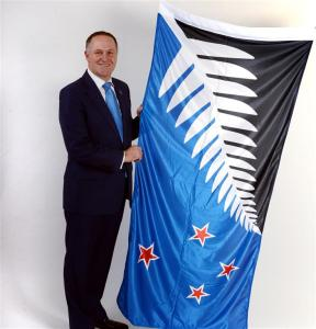 John Key with flag